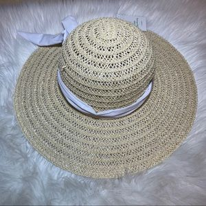 Accessories - Women's one size tan floppy sun hat with scarf